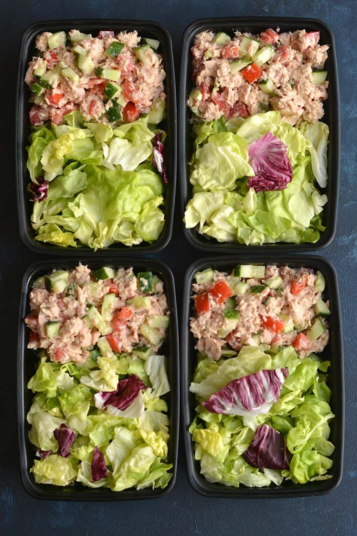 Meal Prep Hummus Tuna Salad ready in 10 minutes! This high protein, low carb tuna salad is mixed with fresh veggies for a light & filling meal. Quick to prep, easy to eat on the go! Gluten Free + Low Calorie