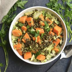 Lentil Brussels Sprouts Sweet Potato Salad! This quick salad is rich in plant based protein, filling & nourishing! A wholesome lunch or dinner that can be made ahead of time.