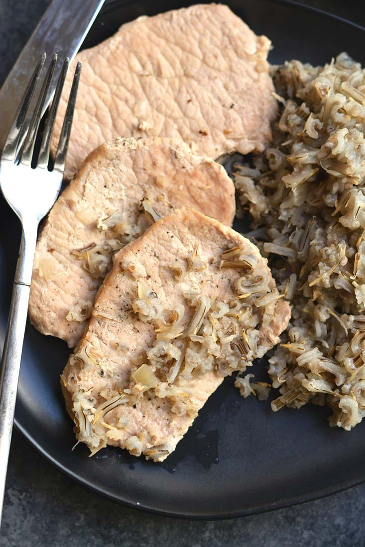 Pork Chops Wild Rice Casserole recipe that's quick to make with a few simple ingredients! A healthy meal that's naturally gluten free, light & packed with flavor. Gluten Free + Low Calorie