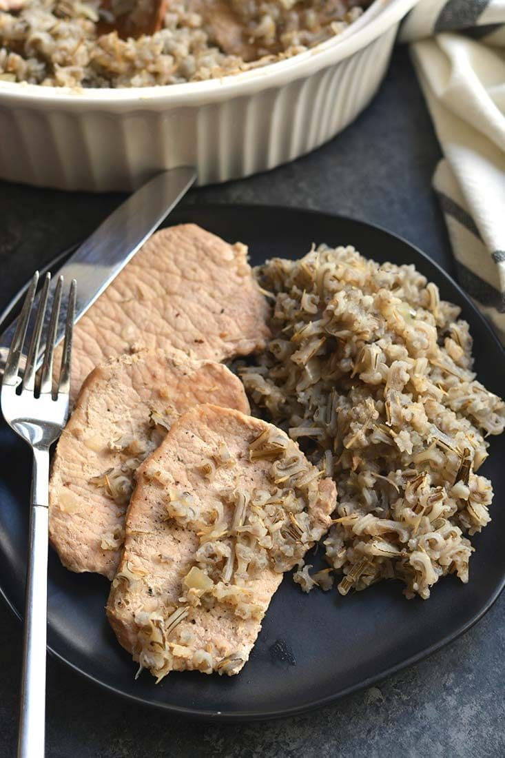 Pork Chops Wild Rice Casserole recipe that's quick to make with a few simpleingredients! A healthy meal that's naturally gluten free, light & packed with flavor. Gluten Free + Low Calorie