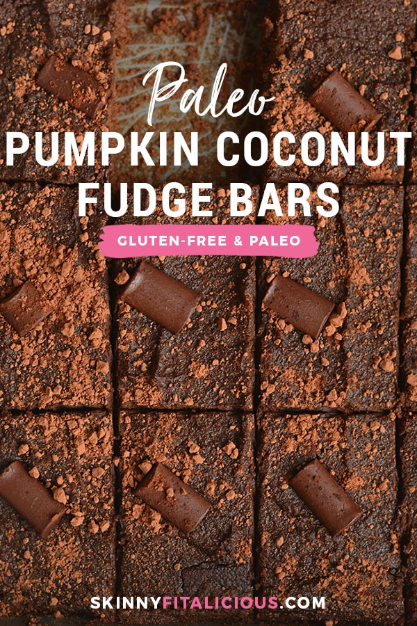 Pumpkin Coconut Fudge Bars, only 100 calories! Super quick Paleo fudge bars madefree of refined sugar, oil & loaded with taste. An easy dessert for every day snacking. Paleo + Gluten Free + Low Calorie