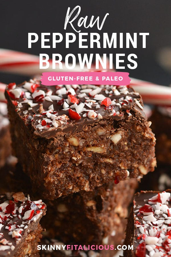 Raw Peppermint Brownies! Cool, decadent, no bake snacks loaded with mint flavor, healthy fat and dark chocolate. A satisfying Vegan and Paleo homemade dessert! Vegan + Paleo + Gluten Free