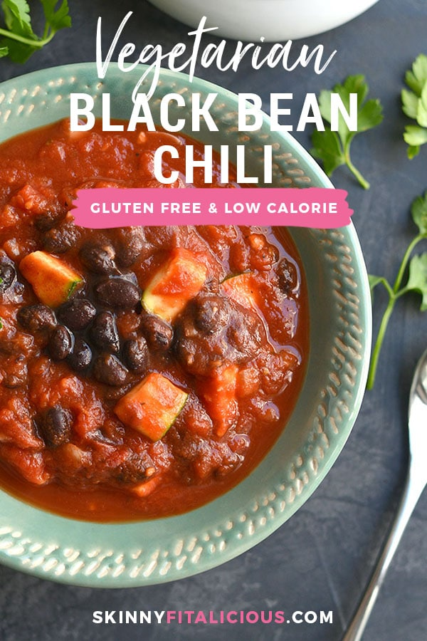 Slow Cooker Black Bean Chili! This vegan chili is full of zucchini & beans with a kick of spice! Hearty, filling, perfect for warming up on a cold day! Gluten Free + Low Calorie + Vegan