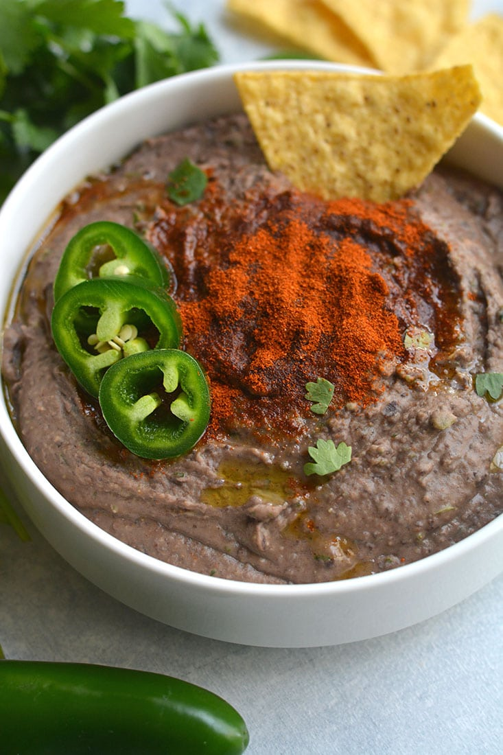 Spicy black bean hummus vegan gf low calorie skinny fitalicious spicy black bean hummus without tahini lightened up by omitting the traditional ingredient without sacrificing taste sisterspd