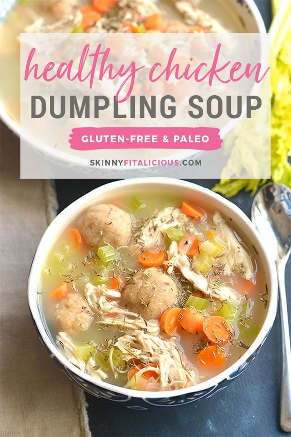Healthy Chicken Dumpling Soup! Gluten Free dumplings snuggled in a warm bowl of chicken soup.Cozy, comforting, loaded with veggies & flavor. A quick & easy meal to feed the soul. Gluten Free + Low Calorie