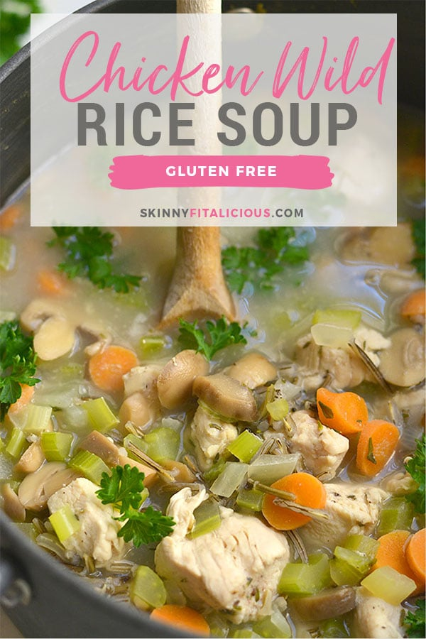 "Chicken Wild Rice Soup is a flavorful meal in a bowl. Packed with veggies, protein and wild ""rice"" to fill you up this season. Easy to make & crowd pleasing! Gluten Free + Low Calorie"