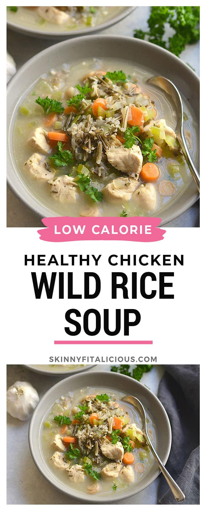 """Chicken Wild Rice Soup is a flavorful meal in a bowl. Packed with veggies, protein and wild """"rice"""" to fill you up this season. Easy to make & crowd pleasing! Gluten Free + Low Calorie"""