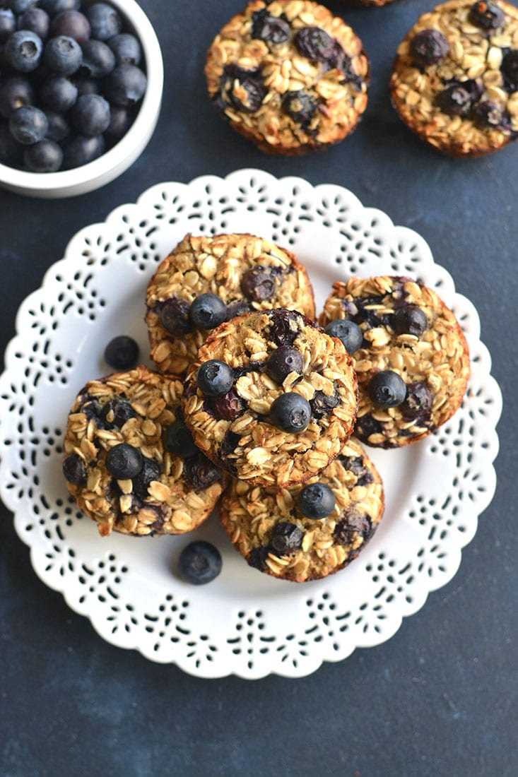 Blueberry Protein Oatmeal Muffins! These easy make ahead muffins are perfect for meal prepping a healthy breakfast or snack. Higher in protein to balance the carbs, these muffins are a better choice.