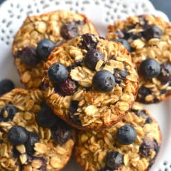 Blueberry Protein Oatmeal Muffins {GF, Low Cal}