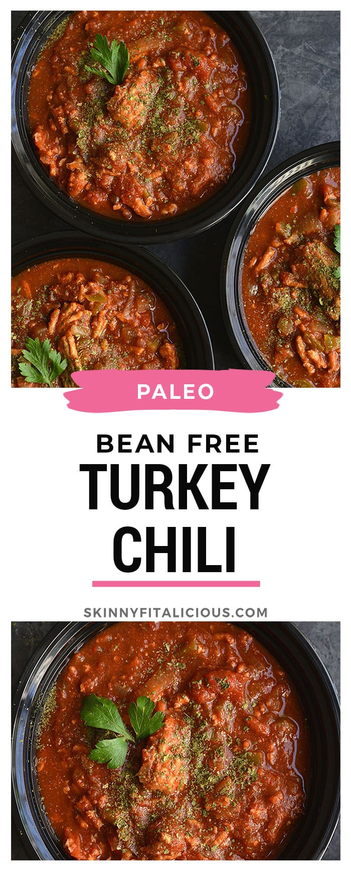 Meal Prep Clean Eating Turkey Chili is Paleo and Whole30 compliant. Made in one pot or a crockpot for an EASY lunch or dinner that's wholesome and satisfying. Paleo, Gluten Free, Low Calorie, Whole30