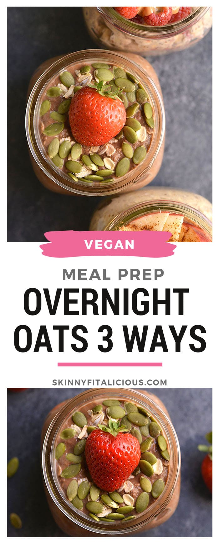 Meal PrepOvernight Oats 3 Ways!Homemade gluten free oats, made free ofartificial ingredients, packed with protein, flavor, and EASY to make! Eat them as instant oatmeal or overnight oats. Gluten Free + Low Calorie + Vegan