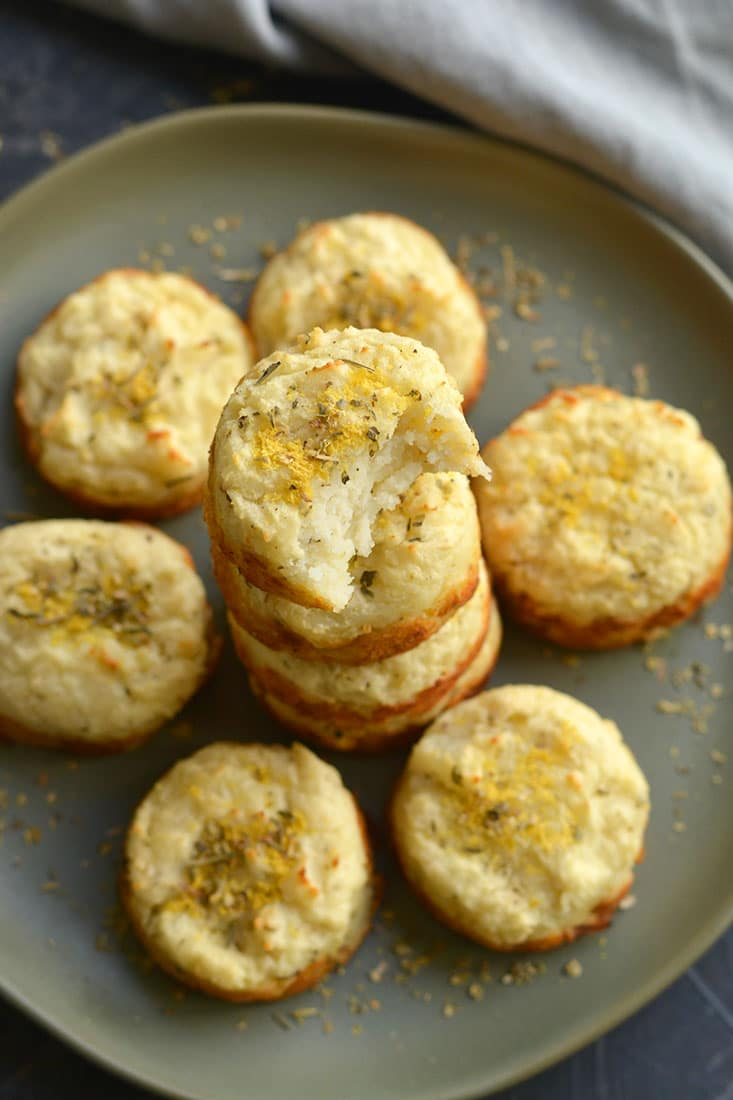 Mashed Potato Muffins! Asimple recipe to turn leftover mashed potatoes into a healthy side with incredible texture and flavor! Enjoy as an appetizer, dinner side, or for breakfast with eggs! Gluten Free + Low Calorie