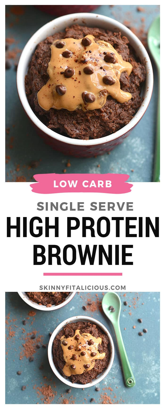Single Serve High Protein Brownie! Get your chocolate fix with this easy 5-minute microwave brownie recipe. Loaded with protein & healthy fat, this sweet treat is perfect for those watching their weight, counting macros or who want to eat chocolate without going overboard! Gluten Free + Low Calorie + Low Carb + Paleo