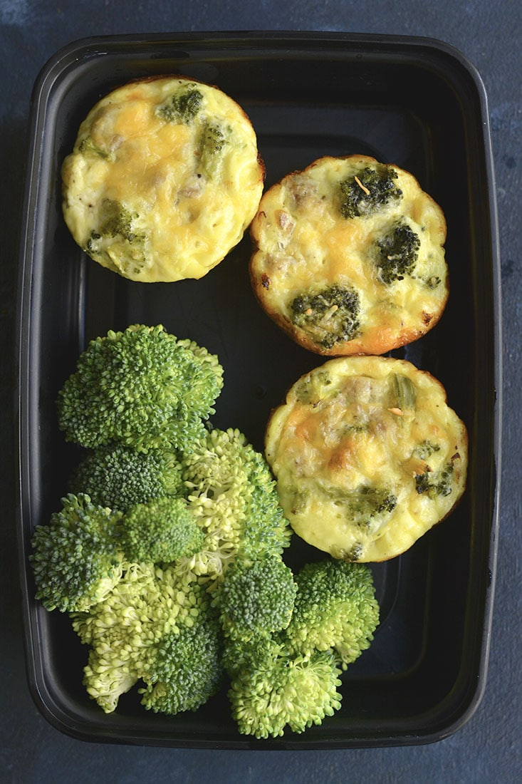 Cheesy Sausage Broccoli Egg Muffins! An EASY, healthy,delicious low carb breakfast you can meal prep once & enjoy all week. Perfect for busy mornings & taking with you no the go! Gluten Free + Low Carb + Low Calorie