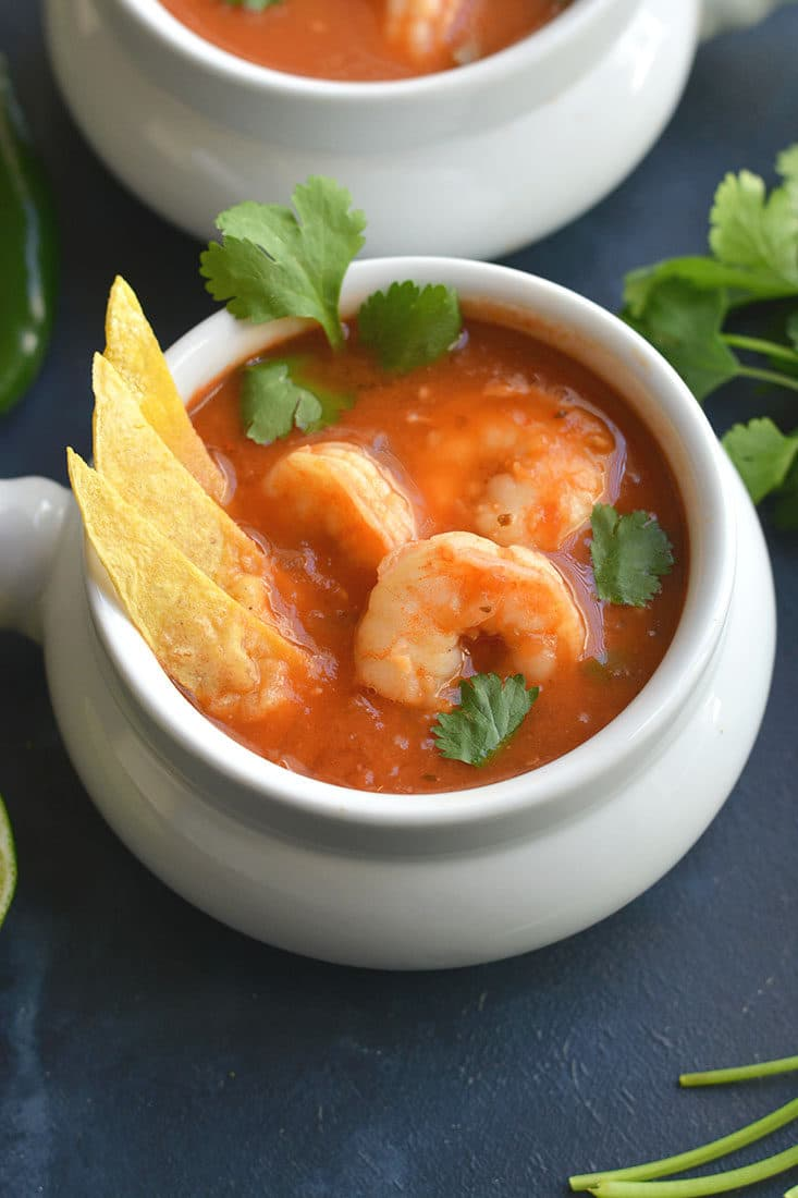 Chipotle Shrimp Taco Soup is an easy to make recipe in 30 minutes. Super spicy with veggies, lean protein, spices & herbs.A soup you can eat year-round that's packed with nourishment & flavor! Gluten Free + Paleo + Low Calorie