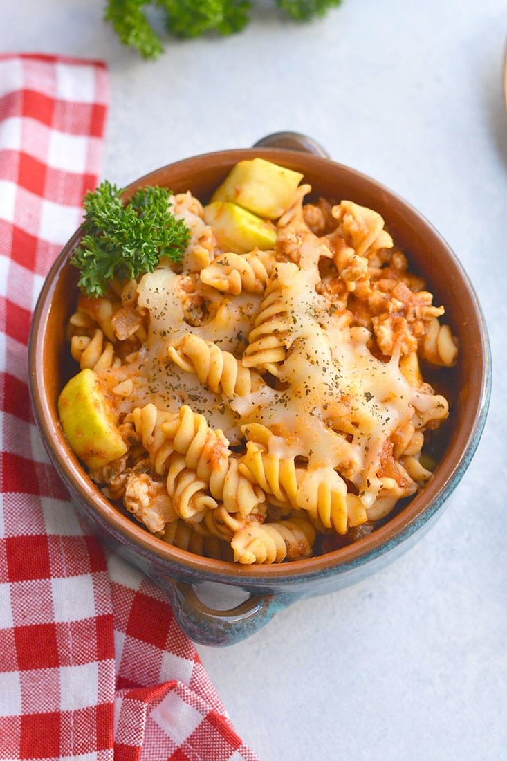 Gluten Free Chicken Chickpea Pasta Bake is loaded with protein, nutrition, flavor and is lower in carbs than traditional pasta! Delicious tasting, easy to make for a quick weeknight dinner or meal prep. This meal is a carb lover's dream! Gluten Free + Low Calorie
