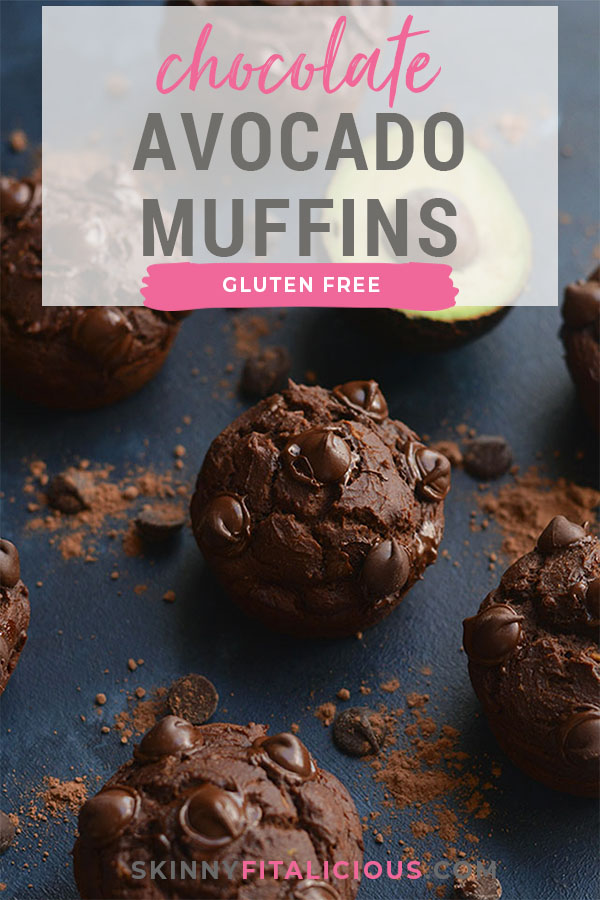 Make muffins part of your morning routine with these Gluten Free Chocolate Avocado Muffins! High in protein, lower in sugar and made with simple wholesome ingredients. Portable, delicious and filled with CHOCOLATE! Gluten Free + Low Calorie