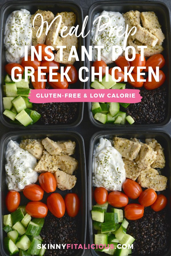 Meal Prep Greek Chicken Quinoa! Made in under 30 minutes in an Instant Pot. Paired with quinoa, tzatziki, cucumber and tomatoes for a Mediterranean style meal that is filling and full of flavor! Gluten Free + Low Calorie