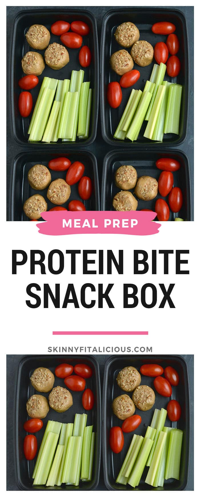 Meal Prep Protein Bite Snack Box! Snacking doesn't get easier than 3 ingredient no bake protein bites paired with fresh veggies. The perfect on the go snack boxes you can take with you anywhere! Vegan + Gluten Free + Low Carb