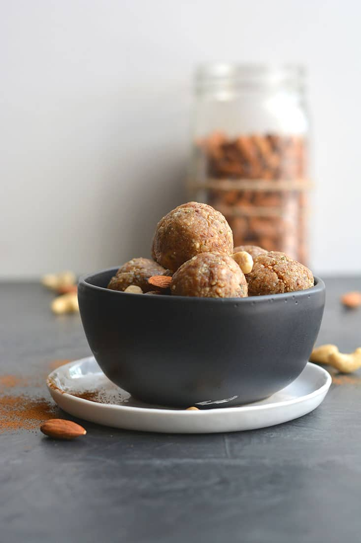 Nutty Collagen Protein Bites! These no bake energy bites are loaded with healthy fat & protein! Chewy, slightly sweet & customizable to any nuts you like, these make a great breakfast or snack. Paleo + Vegan + Low Carb + Gluten Free