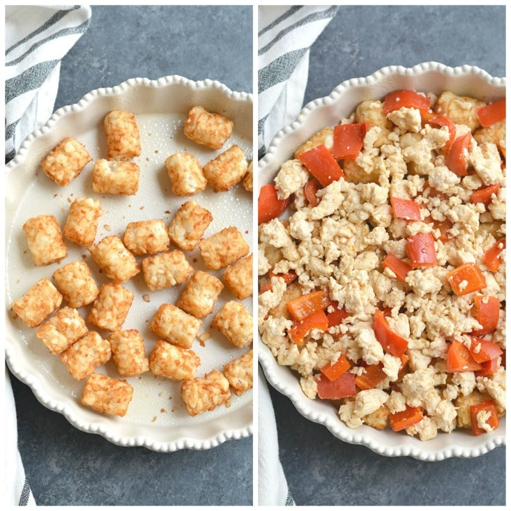 Tater Tot Breakfast Bake! Loaded with chicken, eggs, bell pepper & tater tots, this recipe is simple to make, hearty & tasty. Perfect for a weekend brunch and feeds a crowd too! Gluten Free + Low Calorie