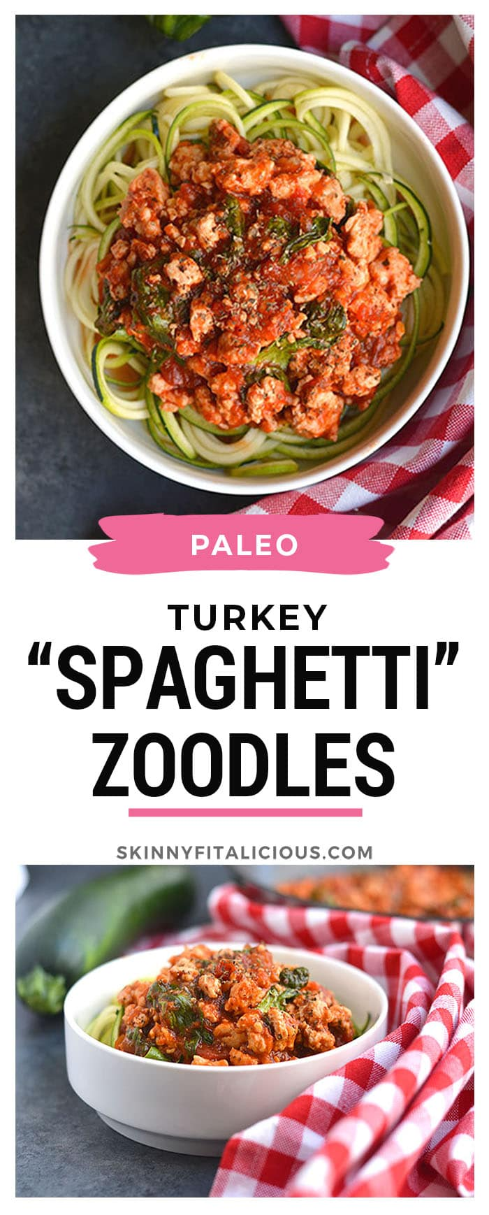 This Turkey Spaghetti Zoodles is pasta without the pasta! A SUPER simple one pan dinner that's low calorie, low carb, Paleo, gluten free and takes just 10 minutes to make. This will soon be your go-to week night dinner! Paleo + Gluten Free + Low Calorie