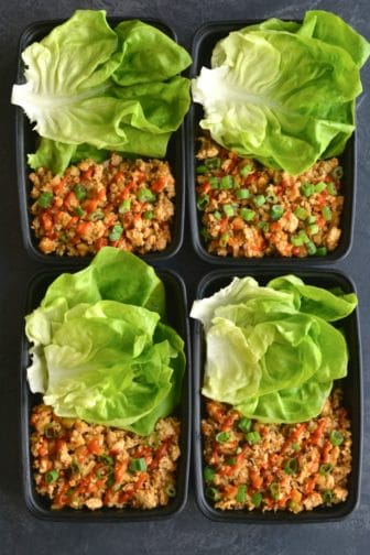 Meal Prep Healthy Chicken Lettuce Wraps! A Gluten Free appetizer or meal filled with spicy flavor! Minimal ingredients and quick to make. Perfect for an easy meal prep! Paleo + Gluten Free + Low Calorie