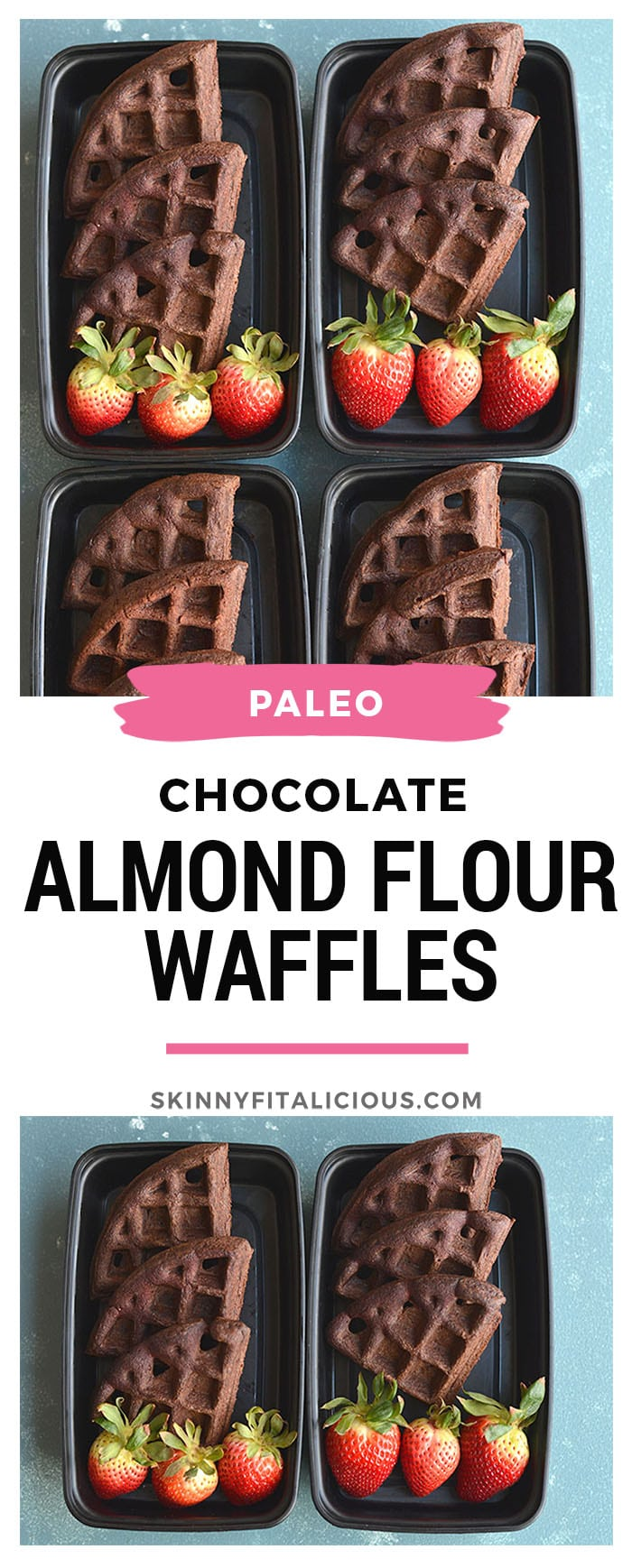 Meal Prep Chocolate Almond Flour Waffles! These chocolate goodies are not only easy to make, but high in protein and healthy fat. You only need a few healthy ingredients to make these light, fluffy, dairy free and delicious waffles. Great for meal prep and freezable too! Paleo + Gluten Free + Low Calorie