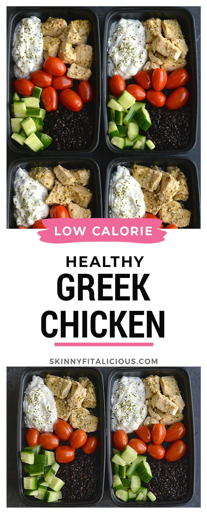 Meal Prep Greek Chicken Quinoa! Made in under 30 minutes in an Instant Pot. Paired with quinoa, tzatziki, cucumber and tomatoes for a Mediterranean style meal that is filling and full of flavor!