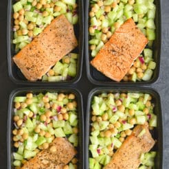 Meal Prep Salmon Cucumber Chickpea Salad! 10-minute skillet salmonpaired with a light & fresh cucumber chickpea salad that has a kick of spice. This high protein meal is prepped in under 15 minutes making it perfect for a quick & easy meal prep! Low Calorie + Gluten Free