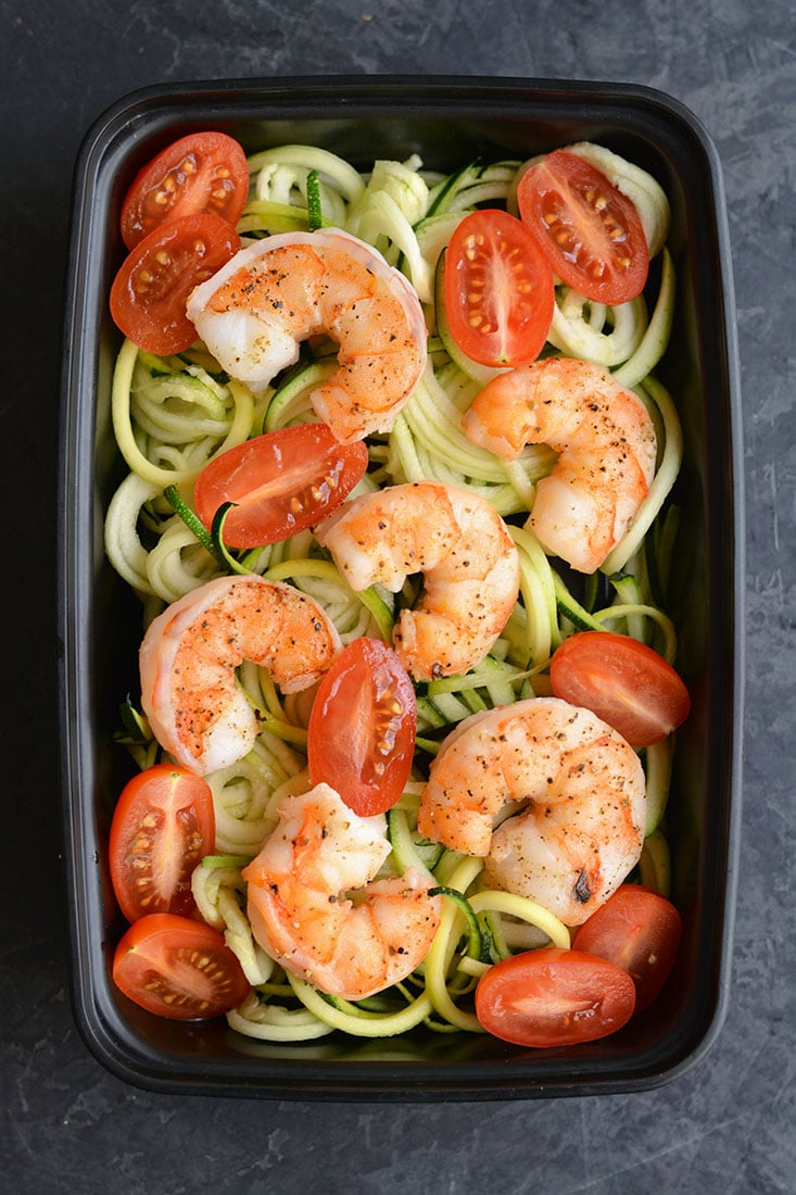 Meal Prep Shrimp Zucchini Noodles Skinny Fitalicious