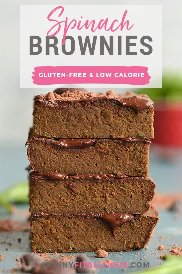Super Sneaky Spinach Brownies! These gluten free brownies are chewy, chocolatey, low in sugar and packed with hidden veggies. Great for picky eaters because you can't even taste it! Gluten Free + Low Calorie