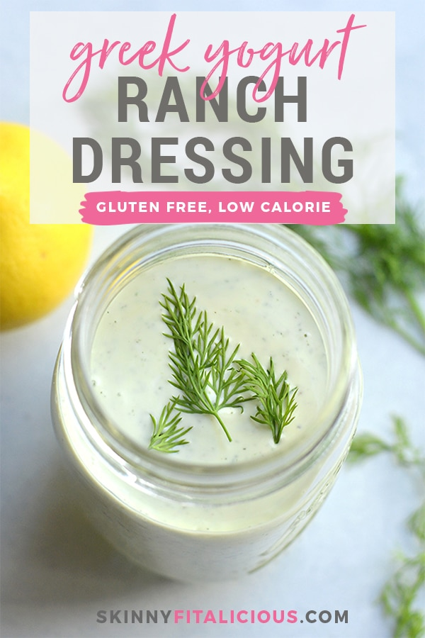 Greek Yogurt Ranch Dressing! This lightened updressing is low in fat and calories and higher in protein. Made mayo free makingthis a healthier, waist friendly salad dressing. Top on salads, sandwiches or serve as a dip. Gluten Free + Low Calorie
