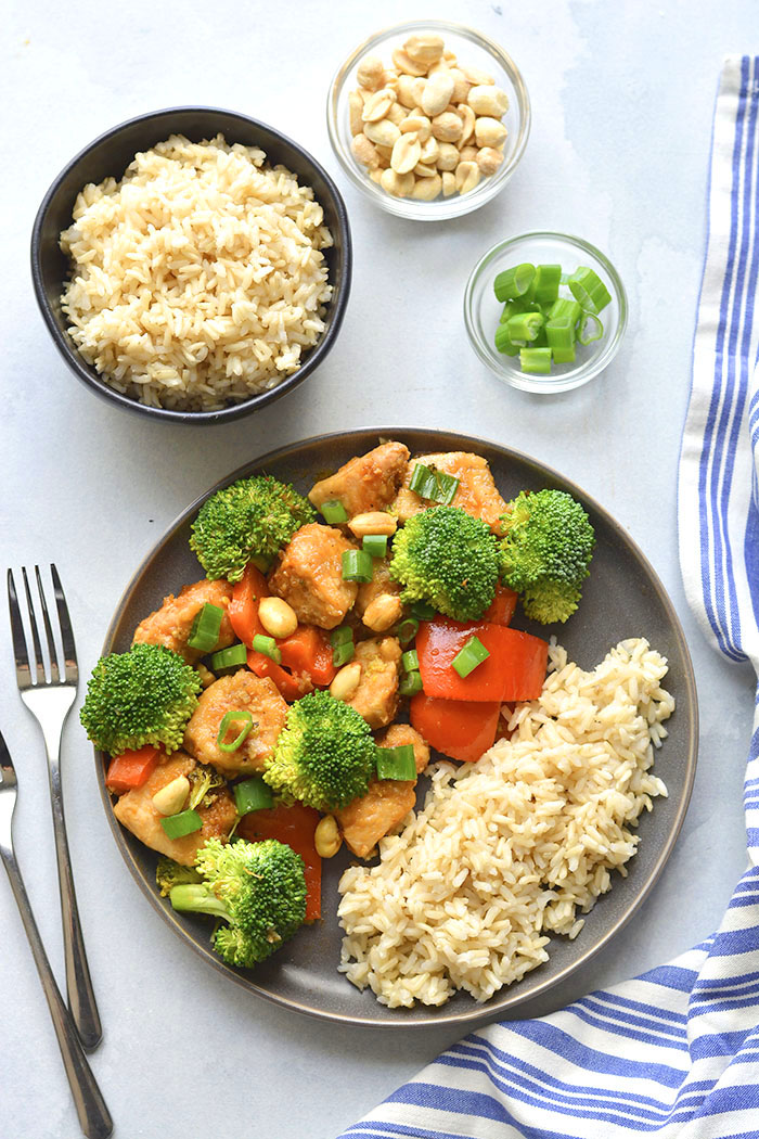 Instant Pot Healthy Kung Pao Chicken is low calorie, lightened up and made with real food ingredients. 15 minutes to make in an Instant Pot! Perfect for a quick weeknight dinner, or weekend meal prepping!