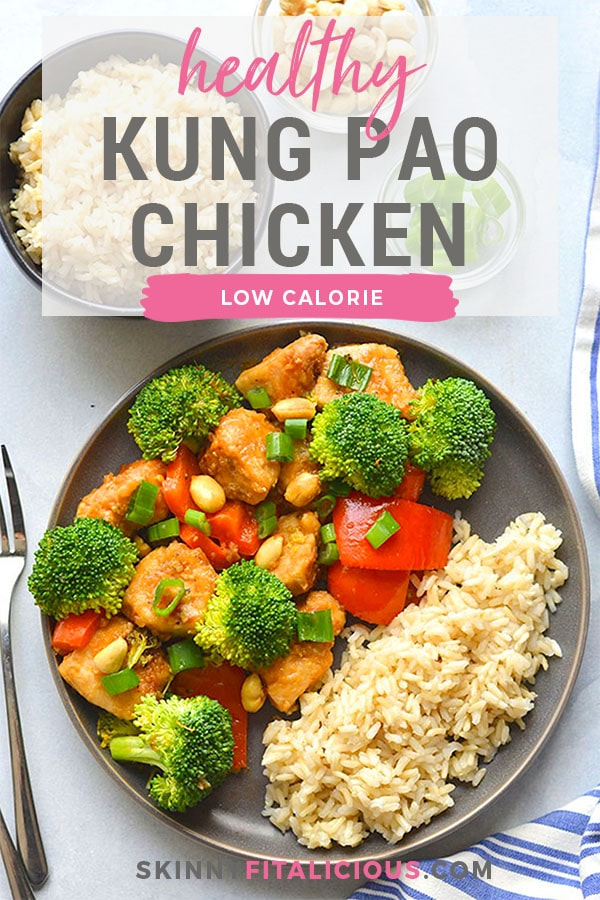 Instant Pot Healthy Kung Pao Chicken is low calorie, lightened up and made with real food ingredients. 15 minutes to make in an Instant Pot! Perfect for a quick weeknight dinner, or weekend meal prepping! Gluten Free + Low Calorie