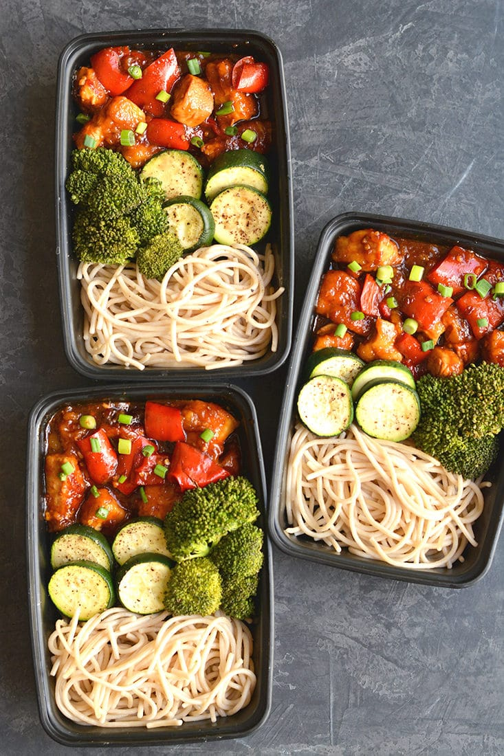 Meal Prep General TSO's Chicken! This Paleo version is made easy in the Instant Pot or on the stovetop. Topped with a healthier, starch-free sauce that's delicious and packed with wholesome ingredients. Serve with brown rice pasta for a lighter, healthier homemade version of your favorite takeout! Gluten Free + Paleo + Low Calorie