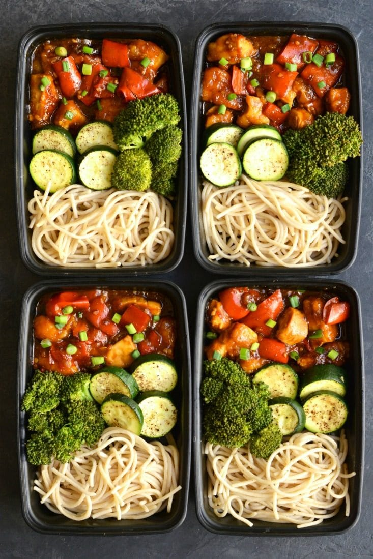 Meal Prep General TSO's Chicken! This Paleo version is made easy in the Instant Pot or on the stovetop. Topped with a healthier, starch-free sauce that's delicious and packed with wholesome ingredients. Serve with brown rice pasta for a lighter, healthier homemade version of your favorite takeout! GlutenFree + Paleo + Low Calorie