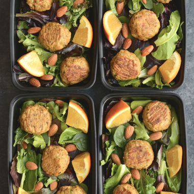 Meal Prep Asian Salmon Meatballs! These orange sweetened meatballs are flavored with Asian seasonings & have hidden veggies. Made with salmon for a high protein, omega-3 packed meal. Easy to make in under 30 minutes. Pair with a salad, cauliflower rice, or brown rice for a quick meal prep. Low Carb + Paleo + Gluten Free + Low Calorie