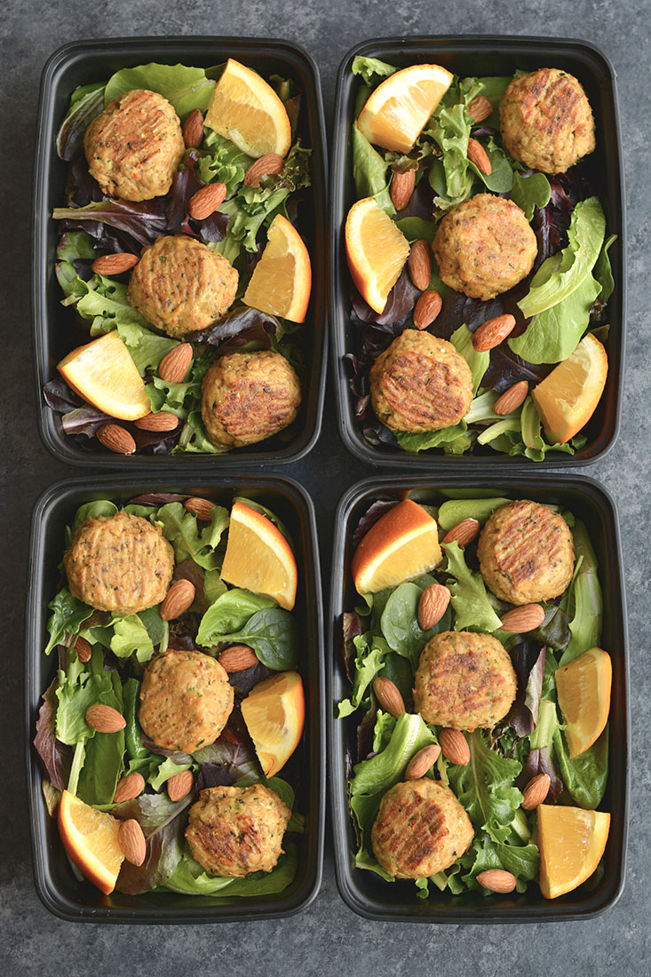 Meal Prep Asian Salmon Meatballs! These orange sweetenedmeatballs are flavored with Asian seasonings & have hidden veggies. Made with salmon for a high protein, omega-3 packed meal. Easy to make in under 30 minutes. Pairwith a salad, cauliflower rice, or brown rice for aquickmeal prep. Low Carb + Paleo + Gluten Free + Low Calorie