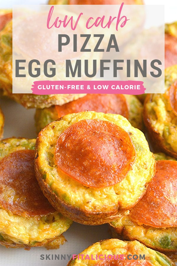 Skinny Pizza Egg Muffins! An easy recipe that makes a quick breakfast and healthy meal every morning. Packed with riced bell pepper and spices, these egg muffins are perfect for weekend meal prep. Wholesome, light and delicious! Gluten Free, Low Calorie, Paleo, Low Carb