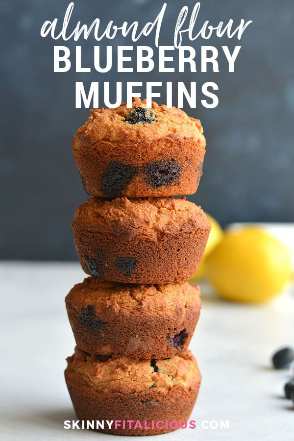 Almond Flour Blueberry Muffins! Fuffy, low carb, Paleo muffins lightened up and packed with antioxidant rich blueberries. A high protein breakfast or snack muffin that's nutritious and delicious! Paleo + Low Carb + Gluten Free