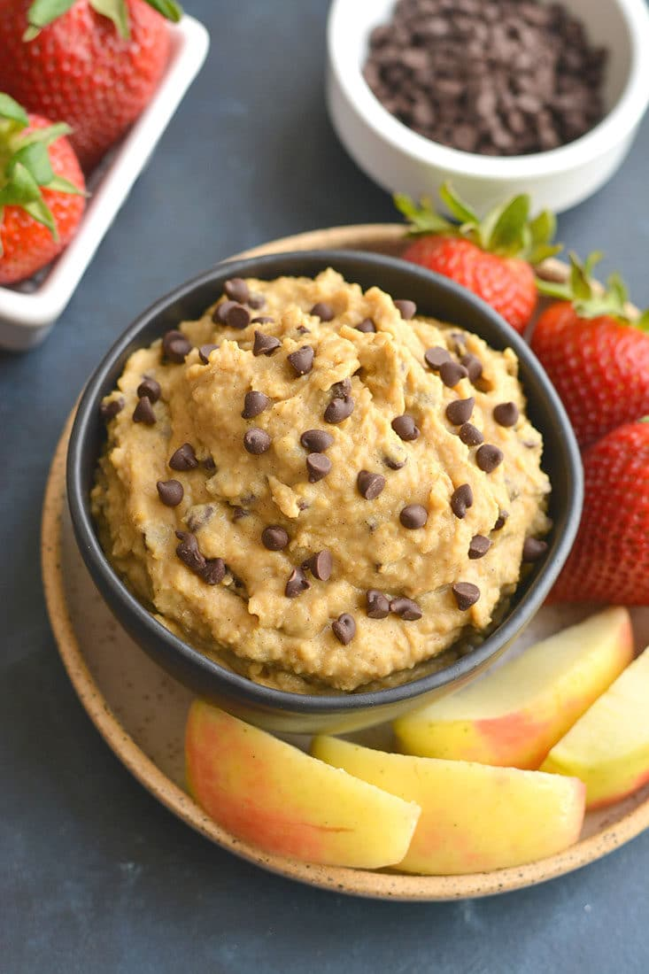 Protein Chickpea Cookie Dough! This eggless no bake cookie dough is made in a blender with chickpeas and protein powder. Low in sugar, refined sugar free and dairy free, this goodie makes the perfect healthy snack treat for anytime of day. Vegan + Gluten Free + Low Calorie