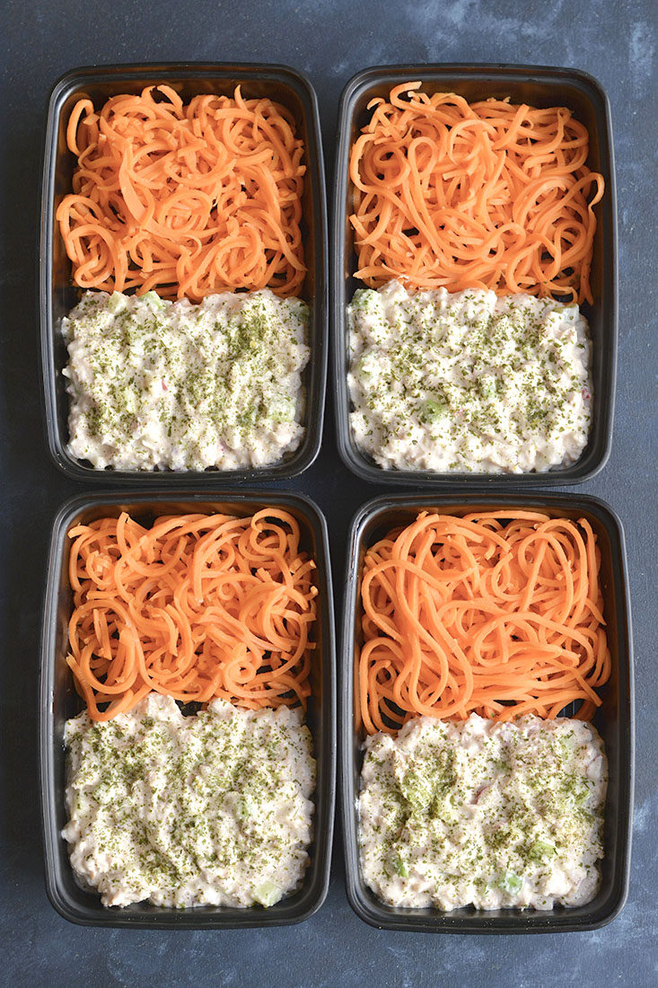 Meal Prep Cottage Cheese Tuna Salad! This high protein tuna salad is perfect for meal prep or a BBQ. Blended cottage cheese and seasonings is tossed with tuna, celery and radishes for a refreshing and filling meal. Pair with carrot noodles or your favorite low carb veggie side!
