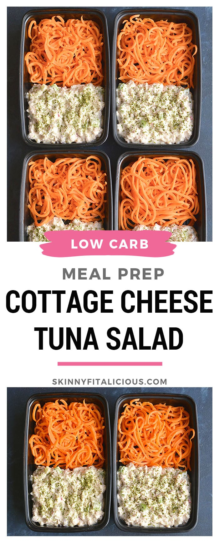 Meal Prep Cottage Cheese Tuna Salad! This high protein tuna salad is perfect for meal prep or a BBQ. Blended cottage cheese and seasonings is tossed with tuna, celery and radishes for a refreshing and filling meal. Pair with carrotnoodles or your favorite low carb veggie side! Gluten Free + LowCalorie + Low Carb