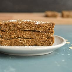 Menopause Bars balanced with protein and minerals to naturally support your body with changing hormones. A delicious, gluten free & Vegan snack that requires no baking, is easy to make in advance and grab when you need a nutritious snack!