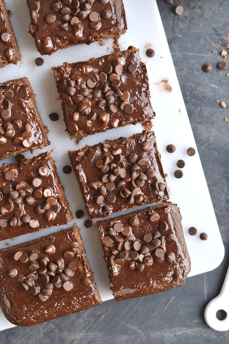 Double Chocolate Chickpea Brownies! Decadent, chewy brownies made flourless with chickpeas and simple ingredients. These rich, chocolatey flourless brownies are easy to make, but even better to eat! Gluten Free + Low Calorie