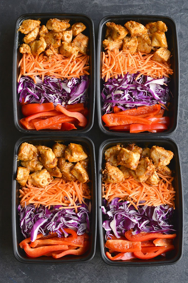 Meal Prep Thai Almond Chicken! Packed withflavor and nourishment,this meal prep recipe is quick to make and filling. Made in 30 minutes, you will love this creamy, Thai flavored chicken. Paleo + Low Calorie + Gluten Free