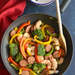 Spicy Shrimp Sausage Stir-Fry {GF, Paleo, Low Cal}