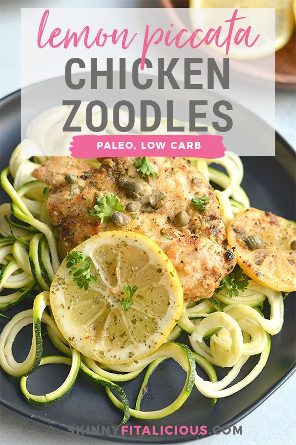 Lemon Chicken Piccata Zucchini Noodles! An easy, one skillet meal that adds tons of flavor to chicken. Served over zucchini noodles for a lighter, low carb twist on lemon piccata. All the flavor without all the calories! Paleo + Low Calorie + Low Carb + Gluten Free