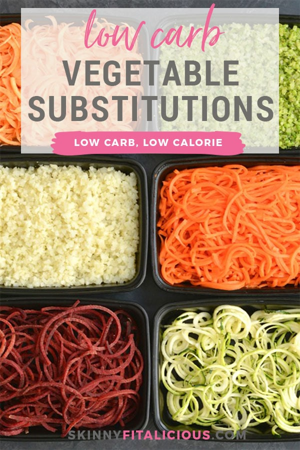 These Low Carb Low Calorie Veggie Substitutes are more filling, nutritious and delicious. Replace pasta, rice and other grains with these!